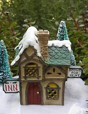 Miniature FAIRY GARDEN House ~ Victorian Village CHRISTMAS Hotel Inn w LED Light