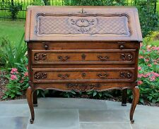 Antique French Oak Louis XV Style Fall Front Writing Desk Bureau Secretary