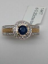 New 14k Yellow Gold Natural Sapphire and Pave Set Diamond Halo and Band Ring