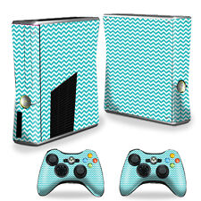 Skin Decal Wrap Cover for Xbox 360 S Slim + 2 controllers Turquoise Chevron