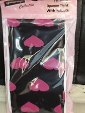 "NEW 1PR LADIES OPAQUE TIGHTS,BLACK + PINK HEARTS,42"" HIP,by GOLDEN LEGS ,ITALIAN"