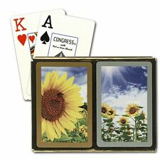 CONGRESS SUNFLOWERS BRIDGE PLAYING CARDS 2 DECK SET JUMBO INDEX NEW IN BOX