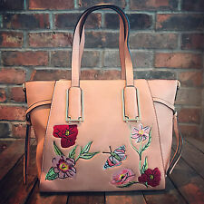 Womens Pink Moda Medium Tote Handbag Faux Leather & Free River Island Gift