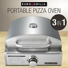 Portable 3in1 LPG Stainless Steel Camping Backyard BBQ Grill Pizza Cooking Oven