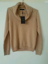 New Marks And Spencer 100% Cashmere Cowl Neck Jumper Sweater In Camel Size 12
