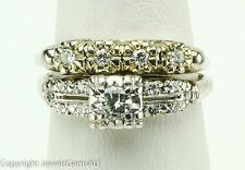 Antique 0.66 ct Round Diamond 14K White Gold Engagement Ring Wedding Band Set