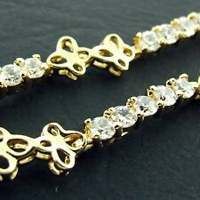 FS601 REAL 18K YELLOW G/F GOLD SOLID DIAMOND SIMULATED ANTIQUE TENNIS BRACELET