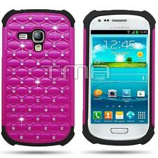 Rhinestone Bling Diamond Impact Case For Samsung Galaxy S3 Mini i8190 - Hot Pink