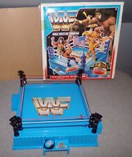 VERY RARE WWF Hasbro Wrestling Ring *BLACK POSTS & TURNBUCKLES VARIANT* w/BELT