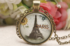Fashion Retro Eiffel Tower Pendant Necklace Jewelry Glass Tile Necklace