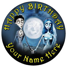 "CORPSE BRIDE GOTH ART - 7.5"" PERSONALISED ROUND EDIBLE ICING CAKE TOPPER"