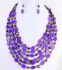 Five Layers Purple And Brown Shell Necklace Earring Set