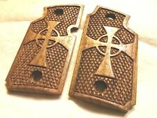 Walnut Wood Grips with Celtic Cross - Will fit Sig Sauer P938