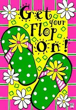"SPRING SUMMER OUTDOOR DOUBLE SIDED MINI GARDEN FLAG ""GET YOUR FLOP ON"""