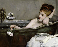 Rare Charming oil painting young sexy woman In the bathtub with roses flowers