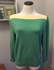 Vintage ST. JOHN Knit Sweater XS Green And Cream Boat Neck Sweater