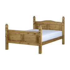 Corona Bed Frame - Small Double 4ft - Distressed Waxed Pine - High Foot End