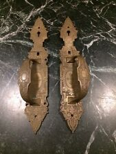 Antique Pair Brass Ornate Church Victorian Eastlake Rare Door Handles Salvage