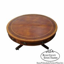 Quality 1940s Mahogany Inlaid Leather Top Round Federal Style Drum Coffee Table