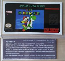 REPLACEMENT SNES CARTRIDGE STICKER LABELS FOR: SUPER MARIO WORLD