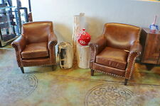 """Set of two 34"""" W Francois club armchair vintage cigar brown leather spectacular"""