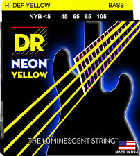 DR NYB-45 4 string Hi-Def Neon Yellow Coated Bass Guitar Strings 45-105 MED