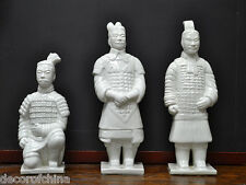 Set of 3 White Chinese Porcelain Terra Cotta Warriors Figures Statues Home Decor
