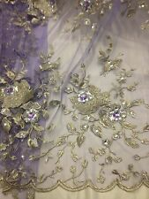 "LILAC MESH W/GOLD SILVER FLORAL EMBROIDERY RHINESTONE LACE FABRIC 50"" WIDE 1 YD"