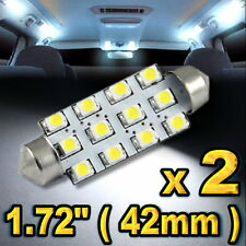 """2x Super White LED Lights For Dome Map 12-SMD 1.72"""" 42mm 211-2 578 #"""