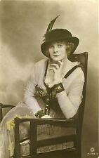 c 1914 Vintage Glamour LOVELY SEATED LADY fashion tinted photo postcard