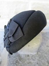 Vintage Authentic 1940's Style  Black 100% Wool Felt Half Hat With Feather Trim