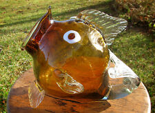 Large Vintage Hand Blown Amber Glass Fish/Terrarium with Mouth Open Beautiful~