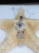 "Hagit Gorali  AMETHYST  Pendant AND NECKLACE  Organic Design, 3 TIER 3.5"" LONG"