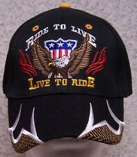Embroidered Baseball Cap Motorcycle Live to Ride NEW 1 hat size fits all