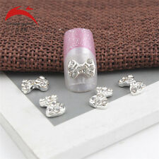 10 x 3D Silver Glitter Red heart Rhinestones Nail Art Bowknot DIY Decorations D3