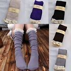 Crochet Warm Lace Trim Cotton Knit Footed Leg Boot Toppers Knee High Stockings