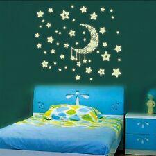 Sticker Mural Lumière Lune Étoile Fluorescent Décor Fluo Autocollant Lumineuse
