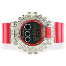 Iced Out Shock Watch Silver Case Red Band Bling Sport Hip Hop Lab Diamond Style