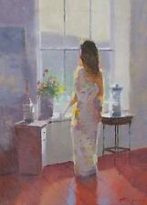 Attractive Zlatan Pilipovic Original Oil Painting - Woman By The Window