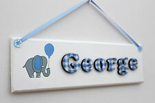 Children's bedroom door sign / name plaque: blue and white gingham with elephant
