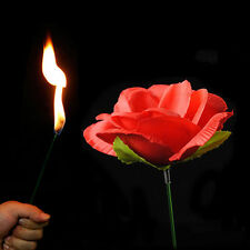 new Close Up Stage Magic Trick Torch Rose to Fire Tricks Flame Appearing Flower