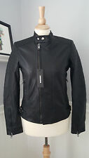 DIESEL Lily Black Biker Perforated Genuine Leather Jacket Womens S Small $778