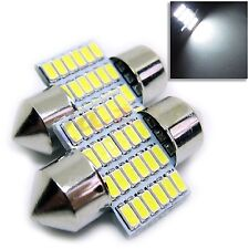 UK x2 C5W 28mm Car Interior Festoon White 6500k LED 24 SMD BULB 12v