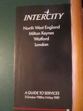 Intercity timetable N W England - London  guide to services Oct '88 - May 89
