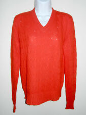 BRAEMAR 100%CASHMERE BRIGHT JUICY RED CABLE KNIT V-NECK SWEATER L-US/38-EU MEN-S