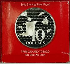 1973 Trinidad & Tobago Ten Dollar Sterling Silver Proof Coin In Case With COA