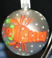 NIB Glass Hand Painted Lobster Christmas Ornament Trimsetter Dillards Italy