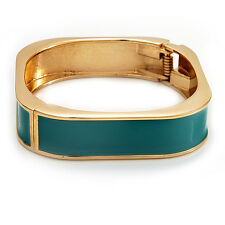 Teal Coloured Enamel Square Hinged Bangle Bracelet In Gold Plated Metal - 18cm L