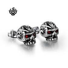 Silver stud red crystal stainless steel skull earrings soft gothic