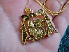 (M315-E) Ludwig DRUM SET pendant NECKLACE 24k GOLD plate I love percussion drums